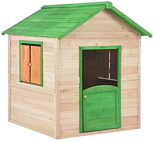 vidaXL Tannenholz Kinderspielhaus mit 2 Fenstern Spielhaus Kinderhaus...
