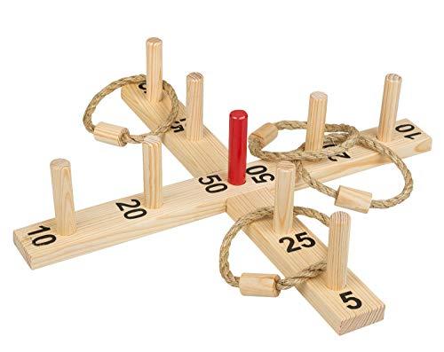 Idena 40158 - Ringwurfspiel aus Holz mit 9 Spielstäben, 4 Ringen aus...