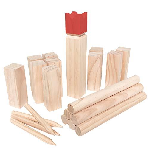 WELLGRO Kubb Spiel 22-TLG. - für 2-12 Spieler, massiv Holz, roter...