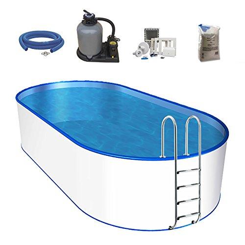 POWERHAUS24 Oval-Pool, Größe & Tiefe wählbar, Stahlwand und Folie 0,6mm Einhängebiese, Edelstahlleiter,...