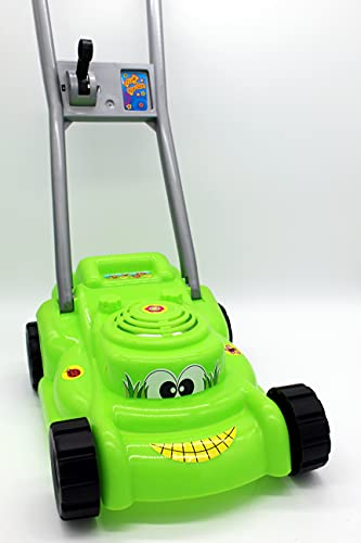Rasenmäher mit Knattergeräusch beim Fahren grün Kinderrasenmäher...