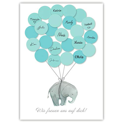 Pandawal Babyparty Deko Junge Elefant Gästebuch Alternative (blau)...