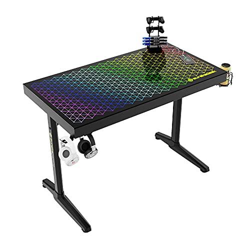 EUREKA ERGONOMIC Gaming Tisch 43 Zoll RGB Gaming Schreibtisch 110cm...