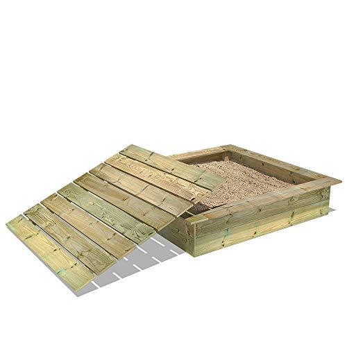 WICKEY Sandkasten Holz Sandkiste King Kong 145x145 cm...
