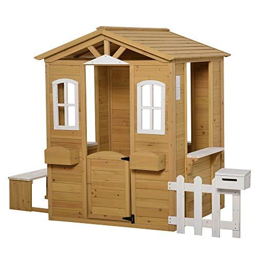 Outsunny Kinderspielhaus mit Fenster Briefkasten Outdoor...