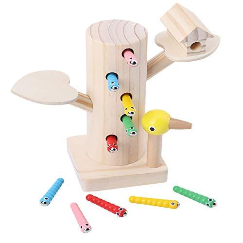 Jiahuade Montessori Spielzeug, Specht Raupen Fangen Spiel Montessori Spielzeug, Lernspielzeug für Jungen und...