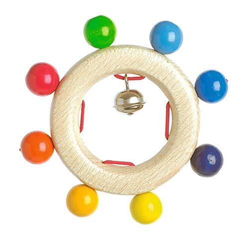 solini Greifling Perlenspiel - Babyspielzeug aus Holz mit bunten Perlen & Kleiner Glocke - Motorikspielzeug...