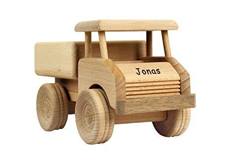 Geschenkissimo Holz-LKW für Kinder - Spielzeug Lastwagen mit Namen - Gravur - Massives Holzspielzeug, robust...