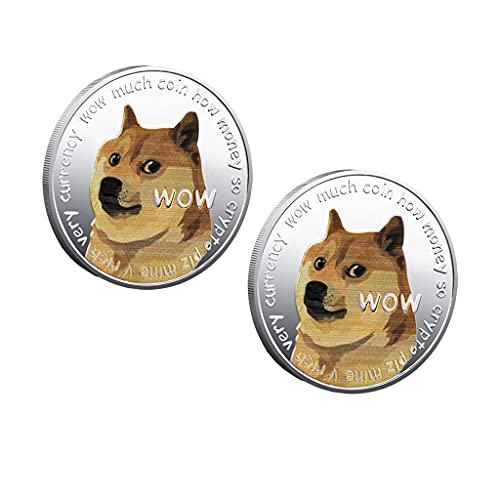 chiwanji 2X Erwachsene Neuheit Art Silber Hund Gedenkmünzen Dogecoin...