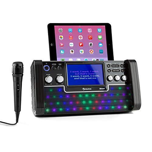 auna DiscoFever LED Edition - Bluetooth-Karaokeanlage mit 7'...