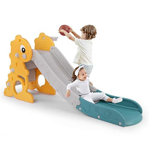 LAZY BUDDY Kinder Rutsche Fun-Slide mit kleine Basketballkorb und Ball...