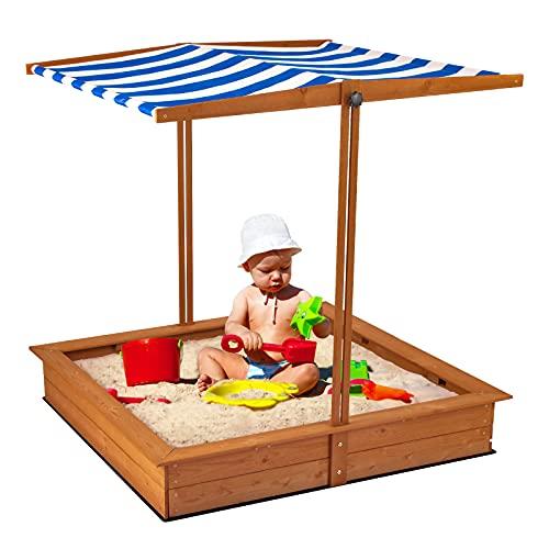 Sandkasten aus Holz, Sandkiste für Kinder mit Hubdach   Blockieren...