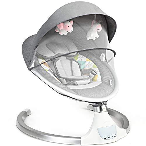 COSTWAY Babywippe mit 5 Schwingungsamplituden und Musik, Baby Schaukelstuhl mit Timing- und Bluetoothfunktion,...