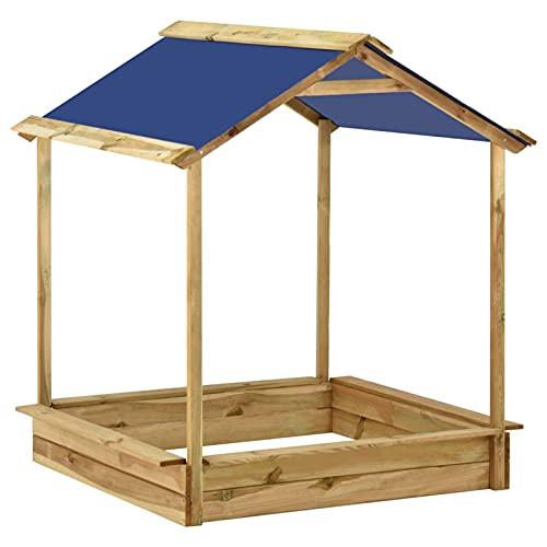 Tidyard Sandkasten mit Dach, Spielhaus mit Sandkasten aus Holz,...