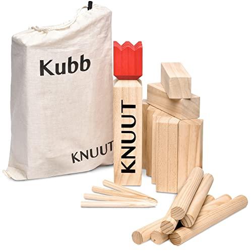 Toyfel Knuut Original Kubb Spiel XXL - FSC® Holzspiel mit Stoffbeutel...
