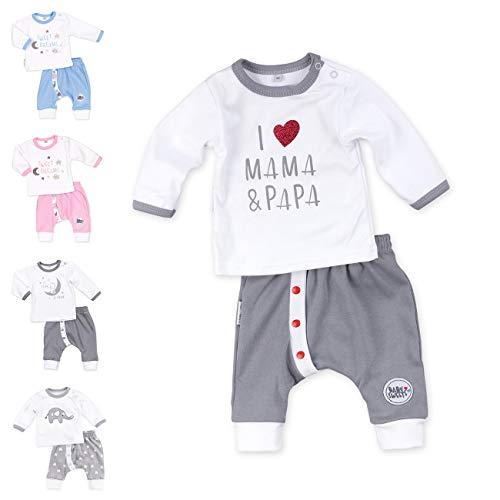 Baby Sweets Unisex 2er Baby-Set mit Hose & Shirt für Mädchen & Jungen/Baby-Erstausstattung in Grau & Weiß...