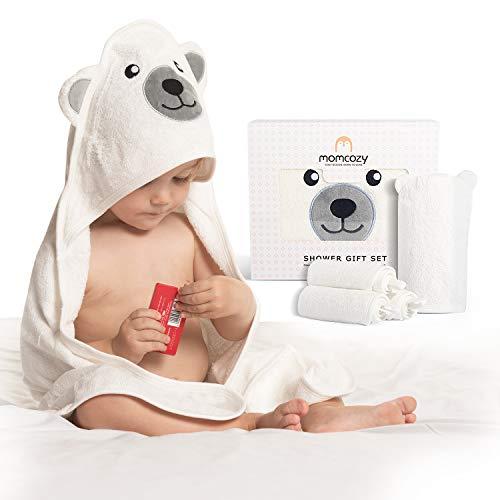 Momcozy Bambus Baby Badetücher Set 5er Pack, Babyhandtuch mit Kapuze...