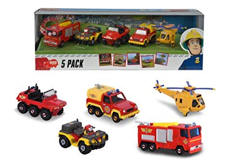 Dickie Toys Feuerwehrmann Sam 5-er Geschenkset, Spielzeugautos mit Freilauf aus Metall, Jupiter mit Licht &...