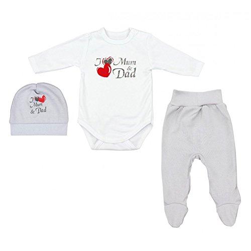 TupTam Baby Unisex Bekleidungsset mit Aufdruck 3 TLG, Farbe: I Love Mum and Dad Grau, Größe: 56