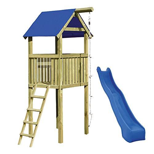 Gartenpirat Spielturm Alto mit Rutsche und Kletterseil 118 x 118 x 350...