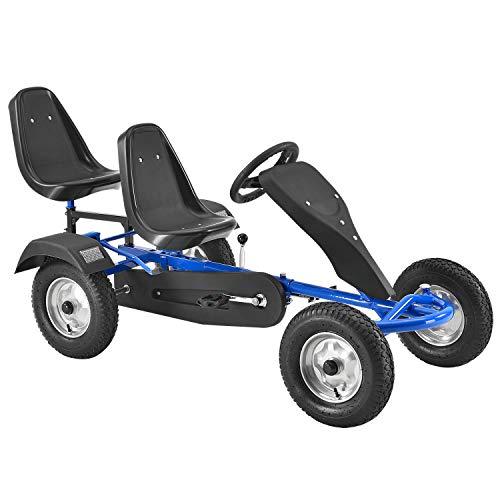 ArtSport 2-Sitzer Gokart mit Schalensitz, Luftreifen, Stahl-Felgen & Freilauf – Tretauto Kinderfahrzeug –...