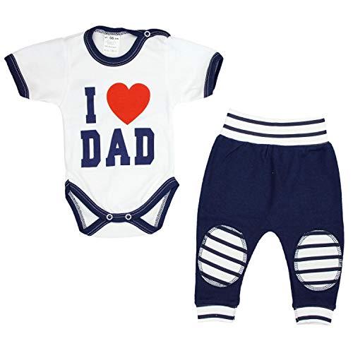 TupTam Unisex Baby Bekleidung mit Spruch 2er Set, Farbe: I Love Dad Dunkelblau, Größe: 62