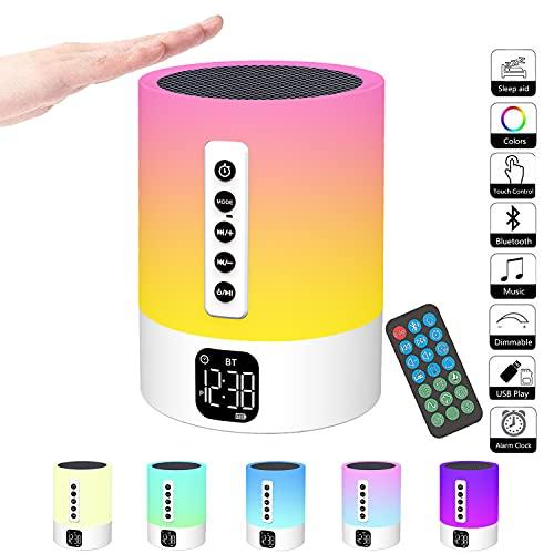 Bluetooth Lautsprecher mit Licht,Wecker mit Licht,Touch Dimmbar...