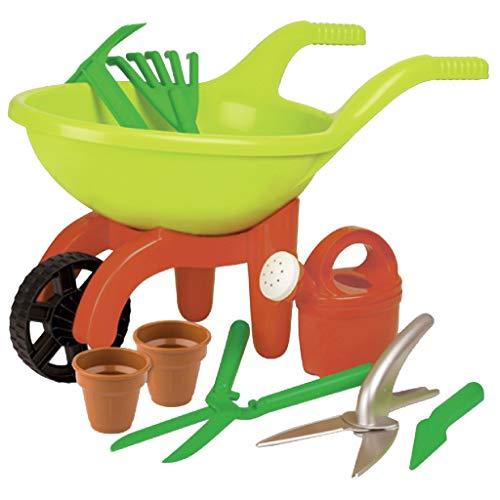 Simba 107137758 - Schubkarre mit Gartenwerkzeug, 9 Teile, Länge 49cm,...