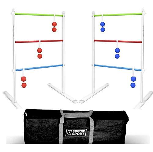 Dr. Sport Doppel Leitergolf Spiel Set Silbermetall - echte GolfBolas in der Tasche - Laddergolf USA - Stark...