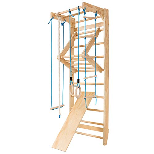 COSTWAY Sprossenwand Holz Turnwand Kletterwand inkl. Montagematerial,...