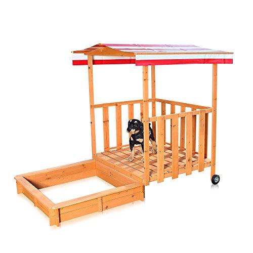 Melko Sandkasten Sandbox mit Abdeckung und Sonnenschutz aus Holz für...