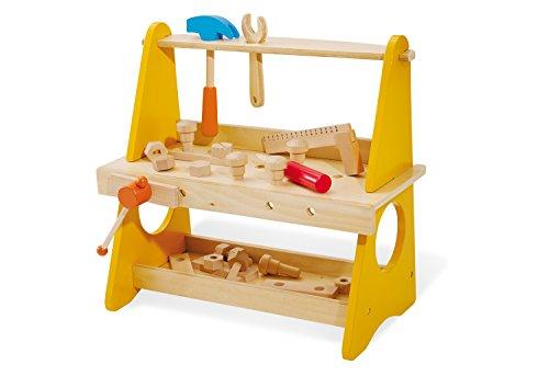 Pinolino Tischwerkbank Basti, aus Holz, mit Schraubstock, Ablage, Werkzeughalterung und Werkzeug, für Kinder...