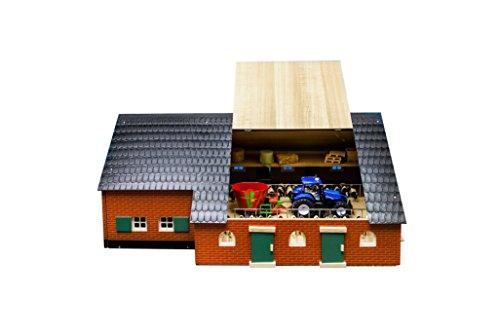 Kids Globe Kuhstall mit Bauernhaus 1:32, Scheune aus Holz, ohne...