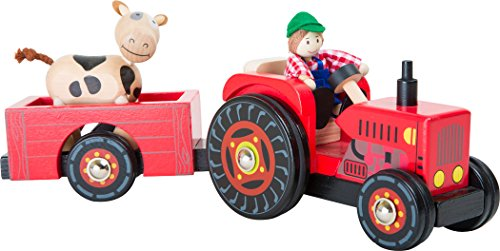 """Small Foot 10316 Traktor mit Anhänger """"Bauernhof"""" aus Holz,mit..."""