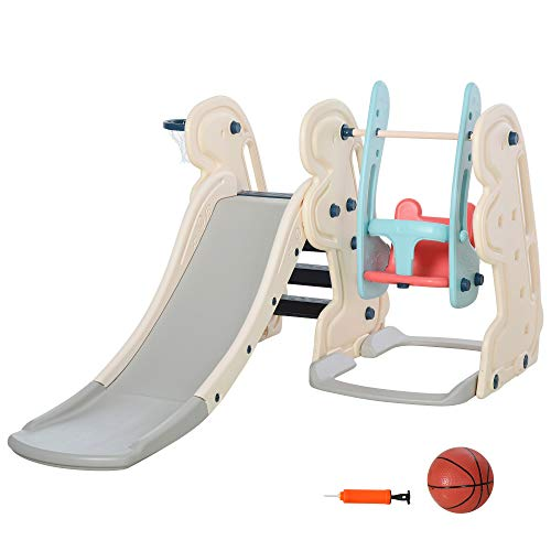 HOMCOM 3-in-1 Kinderrutsche Kinder Rutsche mit Basketballkorb,...