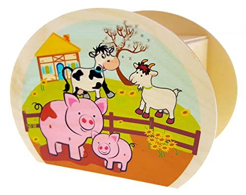 Hess Holzspielzeug 20016 Kinder-Spardose aus Holz mit Bauernhof-Motiv...
