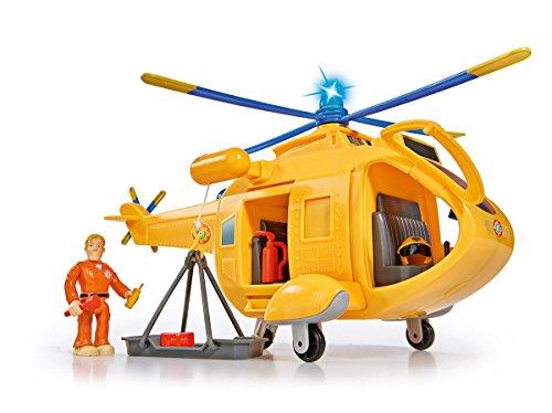 Simba 109251002 - Feuerwehrmann Sam Hubschrauber Wallaby II, mit Tom Thomas Figur, mit Licht und...