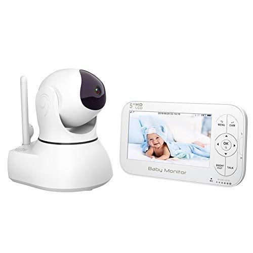 Babyphone mit Kamera Video Baby Monitor 5' Großer LCD Bildschirm & Ferngesteuert drehbare...