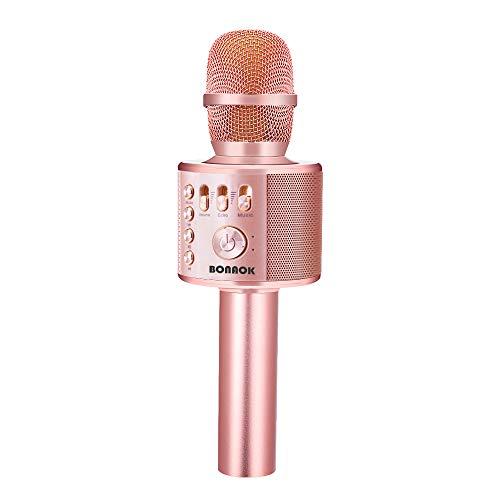 BONAOK Drahtloses Bluetooth Karaoke Mikrofon, Tragbares 3 in 1 Karaoke...
