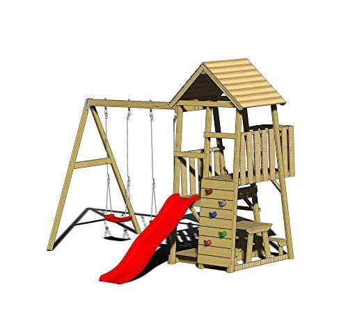Wendi Toys Spielturm Flamingo Stelzenhaus Kletterturm inkl. Rutsche,...
