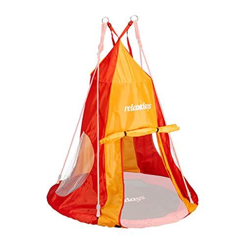 Relaxdays, rot-orange Zelt für Nestschaukel, Bezug für Schaukelsitz...
