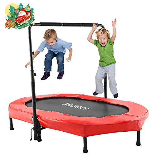 ANCHEER Kindertrampolin, Garten Trampolin für zwei Kinder Indoor / Outdoor zusammenklappbar mit verstellbarem...