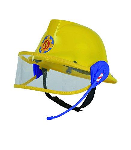 Simba 109258698 - Feuerwehrmann Sam Helm, Feuerwehrhelm, gelb, mit Mikrofon, Größeneinstellung möglich,...