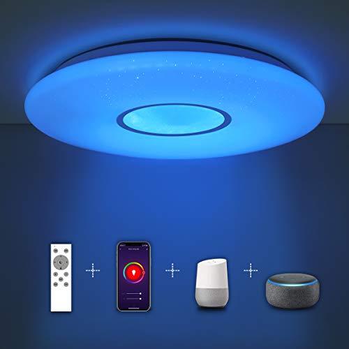 SHILOOK Smart LED Deckenleuchte Dimmbar mit Fernbedienung, 24W...