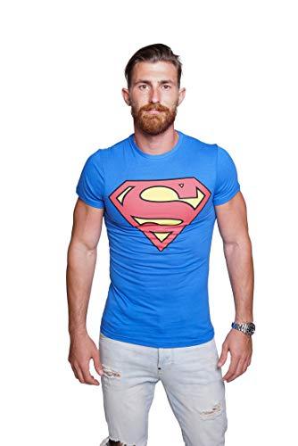 Course Herren Superman T-Shirt Baumwolle Comics Hero Held Superheld...