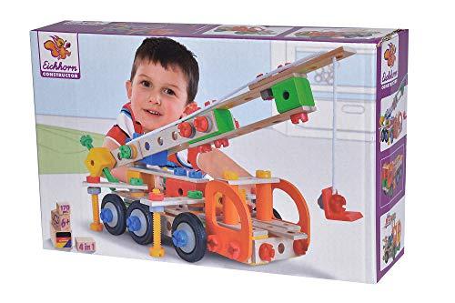 Eichhorn 100039094 Constructor Kranwagen vielseitiges Holzspielzeug,...