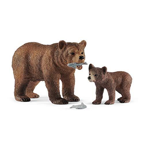 Schleich- Figur Maman Grizzly mit Bär, Wild Life 42473, Mehrfarbig