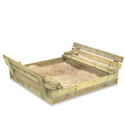 WICKEY Sandkasten Holz Sandkiste Flip 120x125 cm mit...