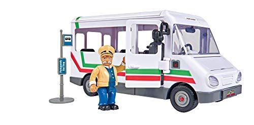 Simba 109251073 - Feuerwehrmann Sam Trevors Bus, mit Trevor Figur, mit Crashfunktion, Türen und Dach zum...