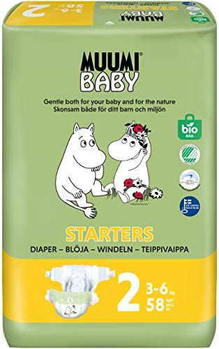 Muumi Baby Neugeboren Ökowindeln Größe 2, 3-6 kg, 58...